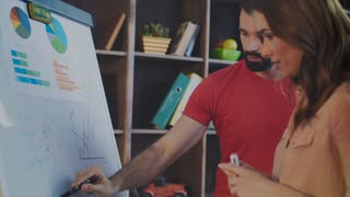 Creative team discussing company business plan on whiteboard in office. Cheerful businesspeople working with marker board. Business brainstorming team writing on planning board. Strategic planning