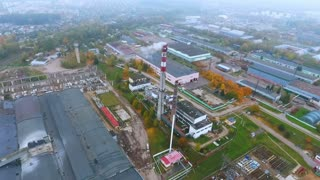Drone view. Manufacturing area in industrial city. Aerial view park production plant. Industrial factory sky view. Industrial territory at manufacturing factory top view. Industrial cityscape