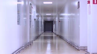 Empty hospital corridor interior. Empty hallway hospital. White wall in corridor hospital. Factory white corridor. Long corridor with doors. Pharmaceutical factory hallway. Clinic hallway