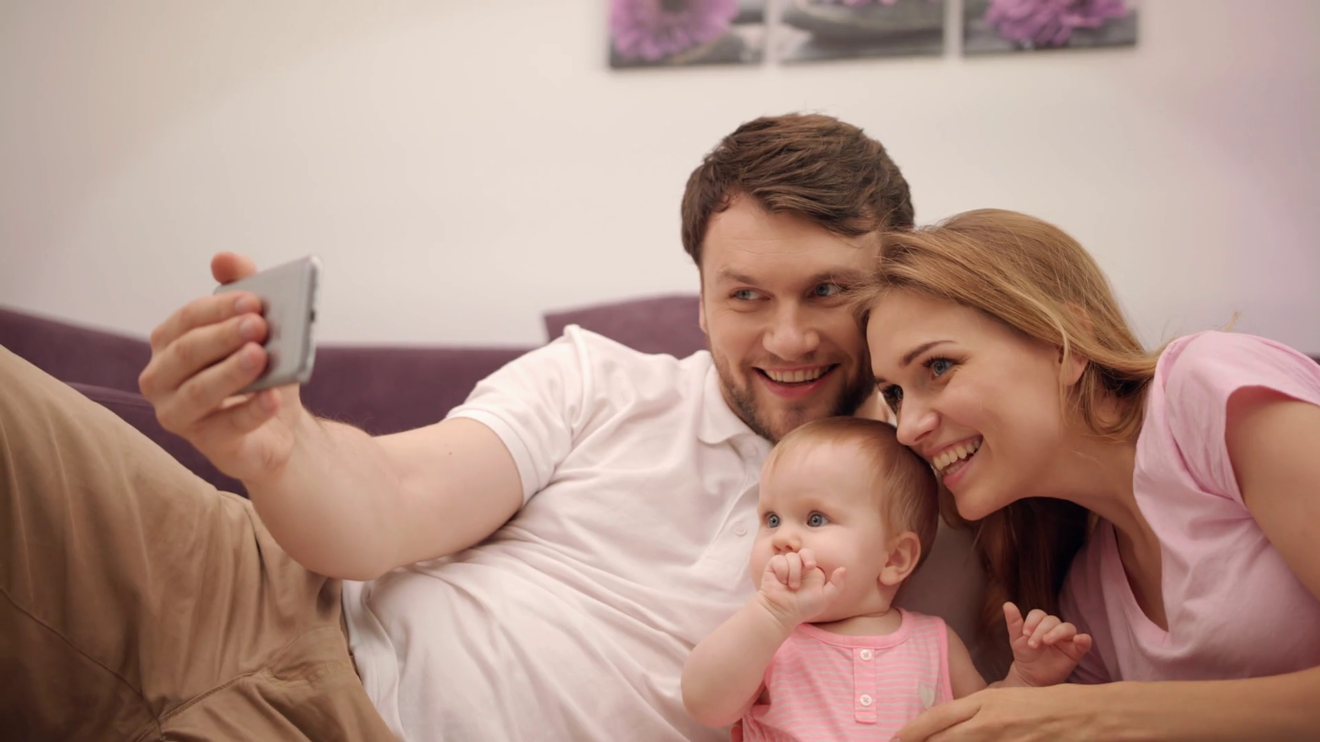 Family Selfie Photo At Home Happy Husband And Wife Taking Picture With Little Baby Man Taking Photo With Happy Family Sweet Parenting Togetherness Love Parent Take Selfie Picture With Daughter Stock Video
