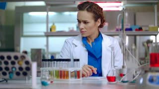 Female chemist preparing for chemical research. Woman chemist in lab. Chemistry woman wearing glasses. Chemical lab research process. Female lab chemist in chemical laboratory
