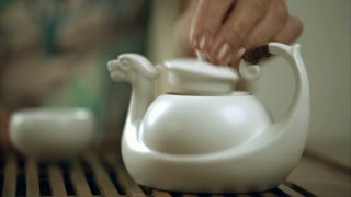 Female hand brew tea in teapot cup. Close up of brewing tea in teapot. Traditional process of tea drinking preparation. Traditional green tea brewing process