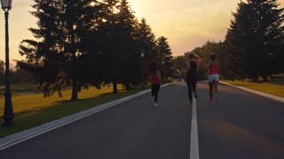 Fitness women running in park. Back view of women group running on park road. Candid women jogging at sunset. Fit girls training. Female runners training outdoors. Women running in slow motion