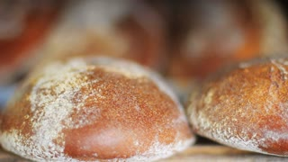 Fresh baked bread close up. Bakery products. Fresh bakery production. Loaf of bread. Freshly baked bread on production line. Cereal bread loaf. Food manufacturing. line. Food factory. Food industry