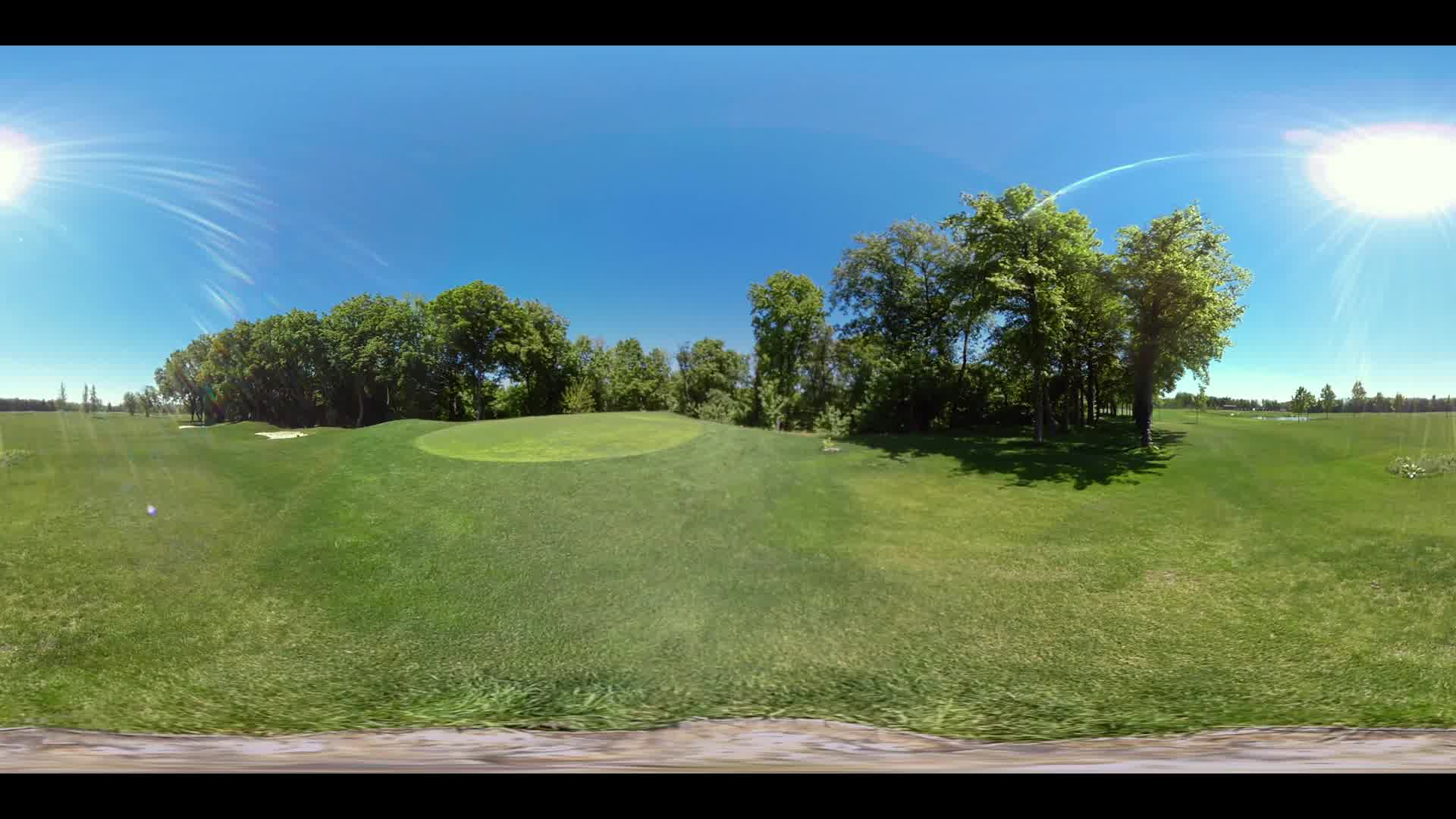 Golf grass landscape 360 degree panorama. 360 view of landscape grass sky. Summer golf lawn landscape. Green field and blue sky. 360 view of green golf course
