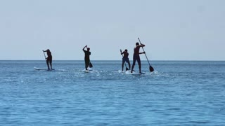 Group surfer man stand up paddle board and riding on sea waves during summer vacation. Sports men surfing on paddle board and using rowing oars. Extreme lifestyle concept