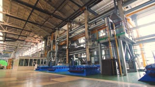 Industrial factory interior. Inside factory equipment. Industrial plant interior. Industry factory background. Technology factory pipes. Inside plant equipment