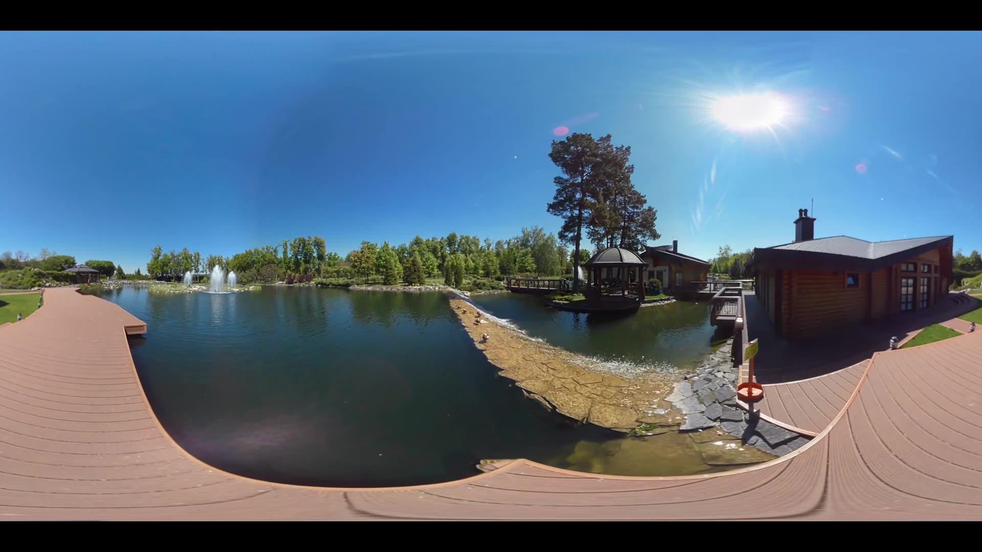 Luxury garden lake landscape. 360 degrees panorama of garden gazebo with park lake. 360 degree view of park lake landscape. Summer garden pond landscape