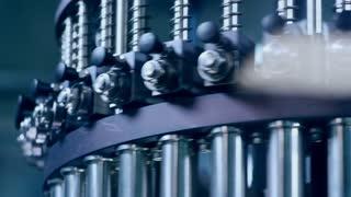 Machinery industrial equipment. Machine part. Machine technology. Close up of machine tools working. Pharmaceutical factory equipment. Factory machinery background. Industrial technology