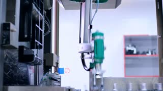 Manufacturing line at chemical factory. Automated production line at chemical plant. Conveyor belt at pharmacy factory. Medicine industry. Packaging machine. Robotic technology. Industrial equipment