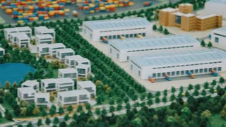 Model of industrial zone with commercial real estate and residential area. Architecture model with freight terminal. Architecture project for perspective construction