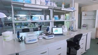 Modern laboratory interior. Empty laboratory room. Steadycam shot of student laboratory work place. Laboratory scientist working place. Lab interior. Empty lab room
