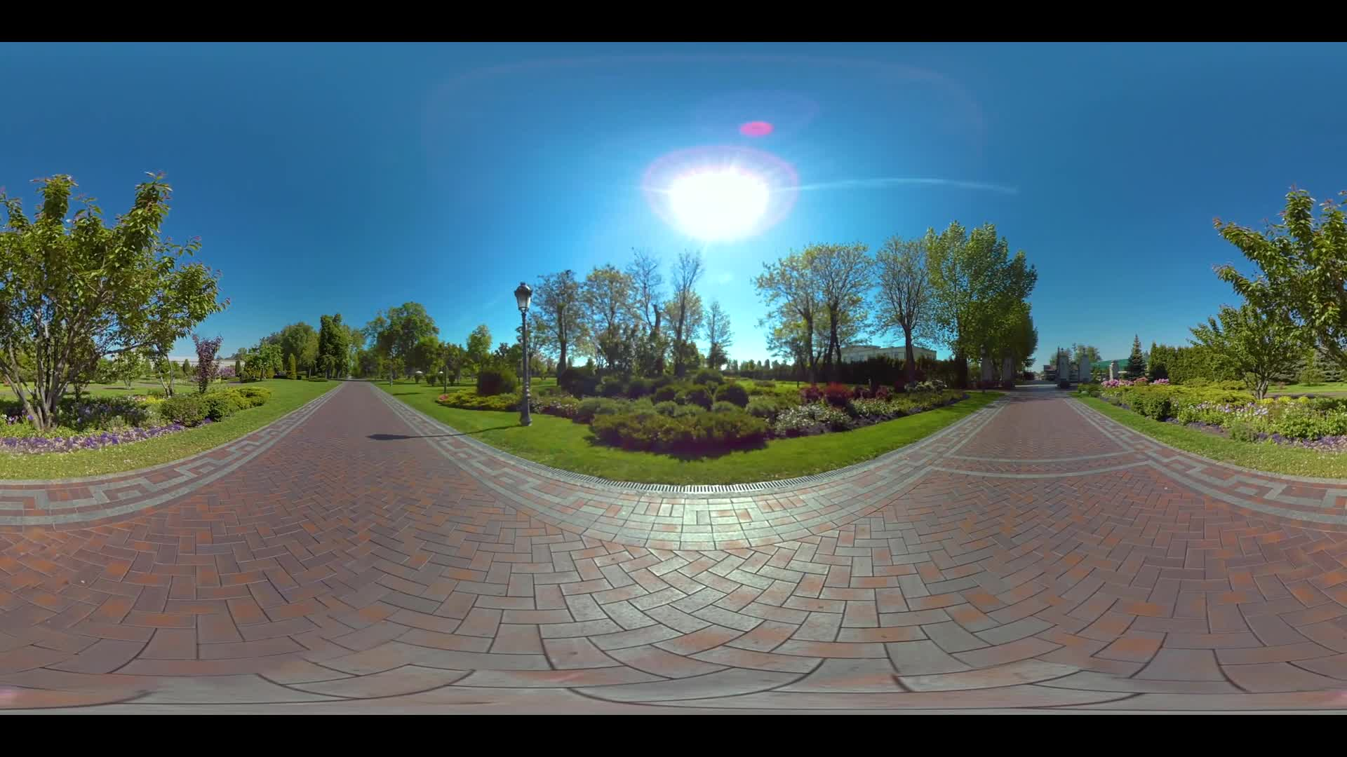 Panoramic landscape in summer park. Nature in summer park 360 panorama. Cobbled paths in city park 360 degrees view. Sun shining in summer park