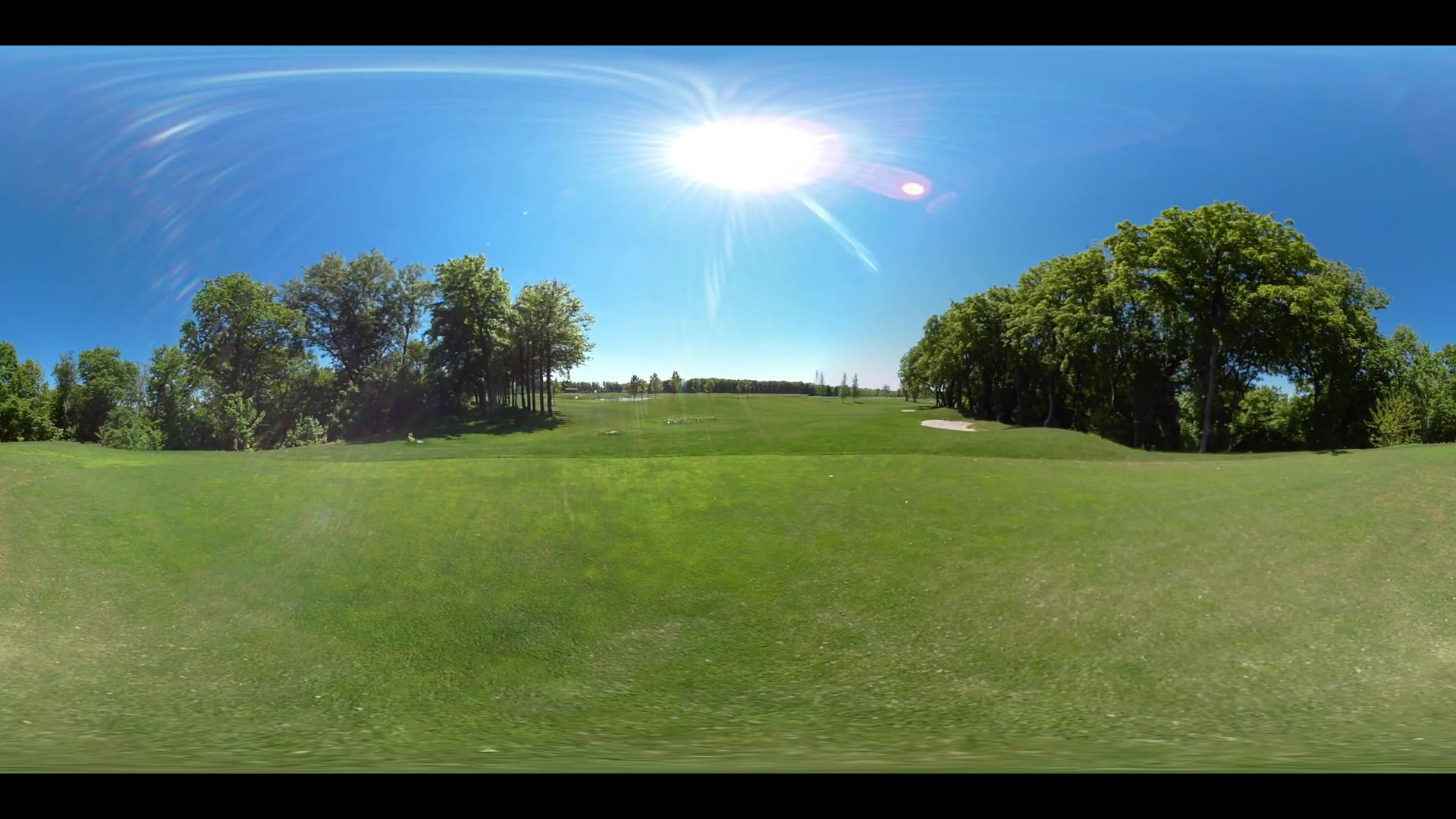 Panoramic view green golf course. 360 degrees panorama of summer golf grass. Beautiful golf course 360 video. Green lawn grass
