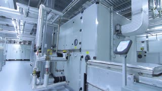 Pharmaceutical factory facilities. Medical factory interior. Modern industrial equipment at pharma plant