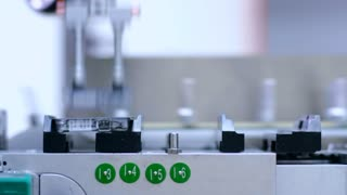 Pharmaceutical production line. Medicine package on manufacturing line at pharmaceutical plant. Pharmaceutical vials on conveyor belt. Medical drugs on packaging line. Medicine industry