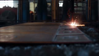 Pan of welding robot arm melt metal process at workshop  High Precision  Modern Tools in Heavy Industry  Automatic work  Technology and Industrial