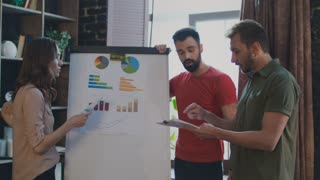 Sales team discussing marketing plan on whiteboard in office. Emotional business discussion. Casual business people arguing about business plan on planning board. Brainstorming team argument
