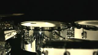 Set drums dark studio. Instruments drummer. Close up drum set. Musical drums. Percussion instruments. Percussion drums. Drumset background. Foot drum. Musical instruments