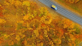 Sky view of autumn road car. Aerial view country road in autumn forest. Autumn forest and highway road drone view. Autumn car road in forest top view. Aerial landscape