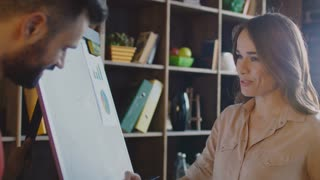 Smiling woman explaining business strategy on flip chart. Marketing planning meeting. Closeup of female market researcher present sales strategy. Woman boss on business meeting in office