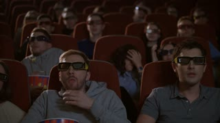 Spectators in 3D glasses watching scary film in cinema. Scared people watching 3d movie at movie theater. Couple watching horror film. Audience in 3d cinema glasses