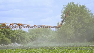 Spraying machine transformed after irrigation plant. Agricultural sprayer. Agriculture machinery parts. Modern agriculture fertilizer