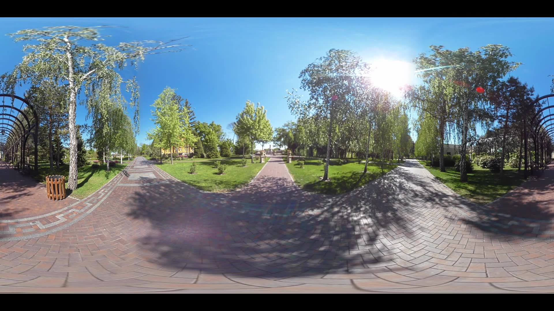 Walking paths in summer park. Panoramic view summer park in city 360 view. Landscape green trees in city park. 360 degrees park path panorama