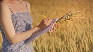 Woman agronomist writing data in wheat field. Female agro scientist writing notes and holding wheat stalk. Agriculture research concept. Agro industry science