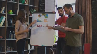 Young business people argue about business plan on white board in office. Angry colleagues discussing diagrams on planning board. Professional team analyzing sale infographics