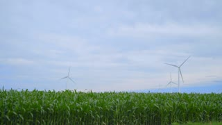 Wind generators field. Wind generators landscape. Dolly shot of wind turbines farm. Farm field and wind turbines. Wind turbines on green field against cloudy sky. Alternative energy concept