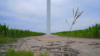 Wind turbine generating wind power. Wind generator stand on rustic road between farm fields. Renewable power generation concept. Alternative energy concept. Renewable energy source