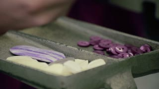 Female worker take sewing buttons at fabric. Woman hand take sewing buttons at textile factory. Accessory for shirts. Sewer take buttons from tray. Purple sewing buttons in tray. Closeup