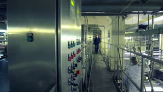 Worker controlling production process at food factory. Employee push buttons on control panel of automated production line. Interior of workshop at the dairy plant. Food production line. Modern food factory