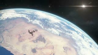 Spaceship Orbiting Earth