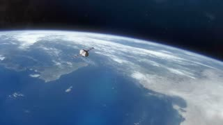Earth from Space with Ship - A