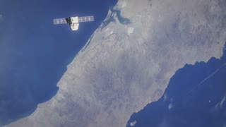 Earth from Space with Ship - D