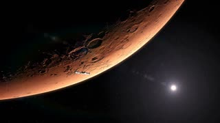 Spaceship Leaving Planet Mars