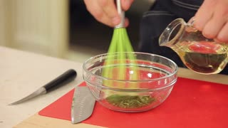 Mixing ingredients for salad dressing