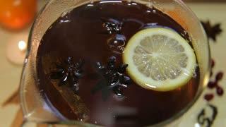 Black tea in glass kettle