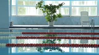 Empty hotel swimming pool interior