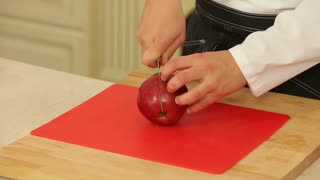 Peeling and chopping an apple
