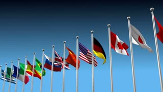 3D animation with different countries flags blowing in the wind
