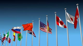 3D animation with flags blowing in the wind in different directions as a disagreement metaphor
