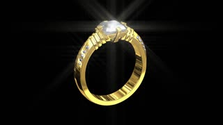3D jewelry wedding gold ring with white diamonds, spinning sparkling seamless HD