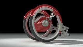 3D red futuristic concept vehicle.