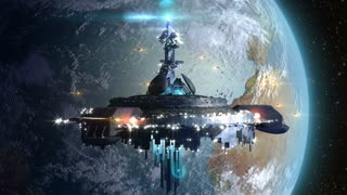 Alien mothership near Earth, for futuristic, fantasy or interstellar deep space travel backgrounds.