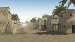 Ancient street with mud huts, palm trees and a pyramid, to be used as architectural background documenting the city life in antiquity