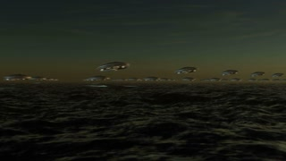 Array of extraterrestrial unidentified flying objects, flying in formation over a wavy sea in sunset