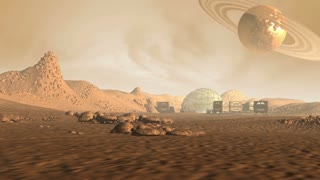 Colony on a Mars like red planet, with astronaut pods, dome structure and a Saturn like moon with rings in a dusty sky, for sci-fi animated backgrounds